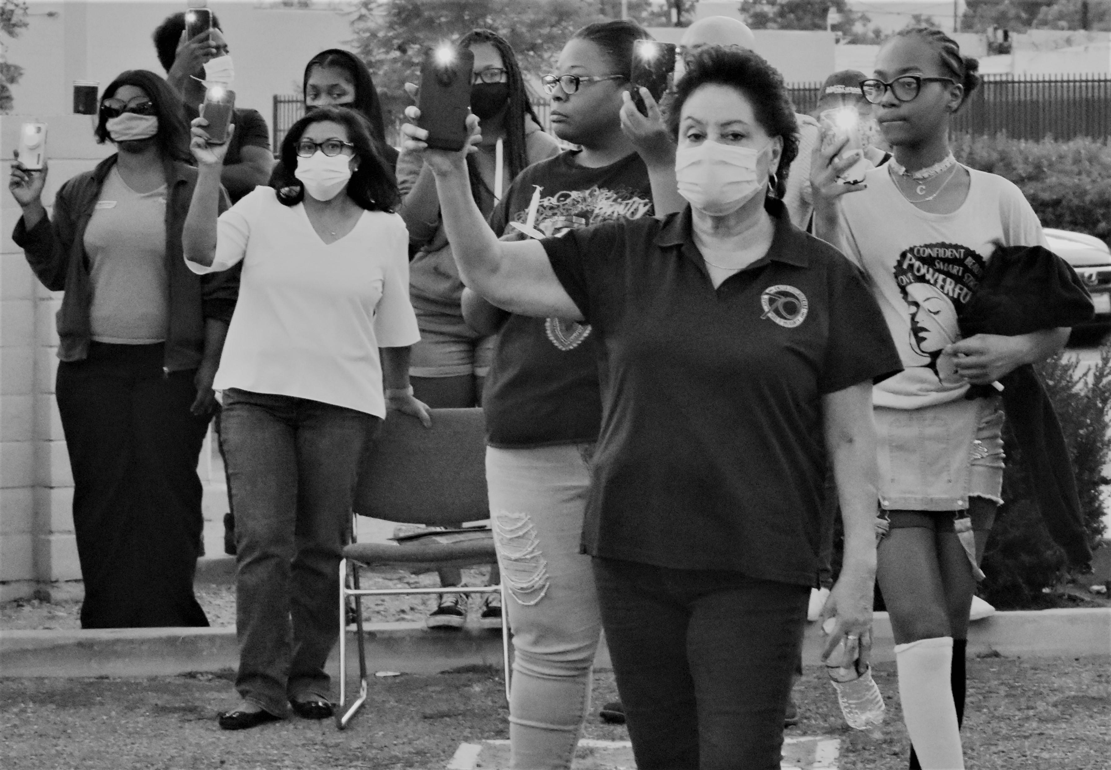 USW Local 7600 International Staff Rep Rosie Gonzalez and Norma Torres Congresswoman 35th district Take a Moment of Silence for 8 minutes and 46 seconds